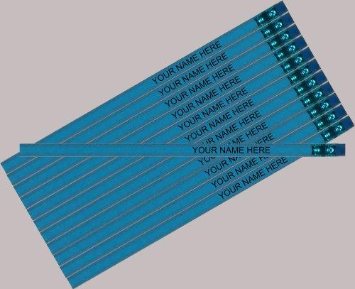 ezpencils Personalized Hexagon Pencils, Sky Blue, 12 Pack