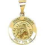 Colgante de oro amarillo de 14 quilates, 15 mm, pulido, redondo, hueco, medalla de San Antonio