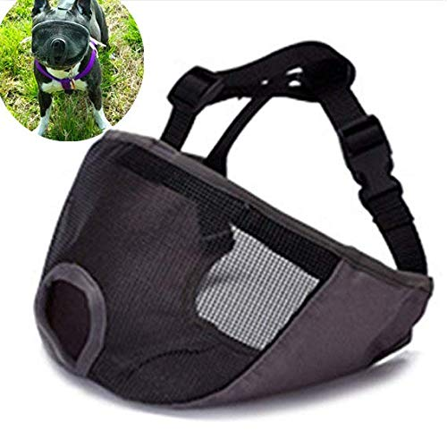 JWPC Short Snout Dog Muzzle Adjustable Bulldog Muzzle Breathable Mesh Biting Chewing Barking Training Dog mask for Small Medium Large Dogs,Grey L