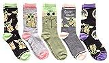 Star Wars Juniors/Ladies Baby Yoda Stripes Crew Socks 5 Pair Pack Size 4-10
