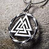Valknut Viking Odin Knot 925 Sterling Silver Pendant Necklace for Men Women - Celtic Nordic Pagan Jewelry - Norse Mythology Warrior Symbol Amulet Talisman - Handmade