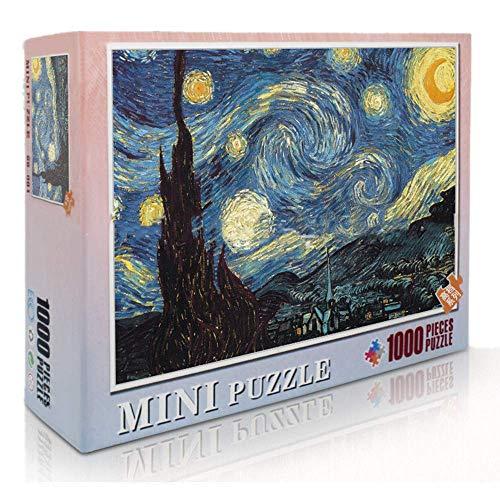 HAZUN 1000 Piezas Rompecabezas Adultos Noche Estrellada Puzzle -Jigsaw Puzzles Classic Rompecabezas de Juguete en Adultos y niños (Rompecabezas clásico de Pintura Famosa