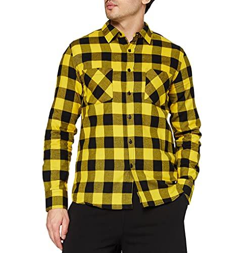 Urban Classics TB297 Checked Regular Fit Herren Freizeit Hemd,Mehrfarbig (blk/honey), Large