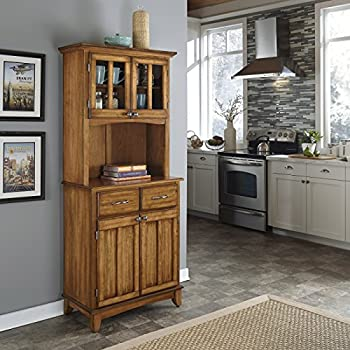 Buffet of Buffet Cottage Oak with Wood Top with Hutch by Home Styles