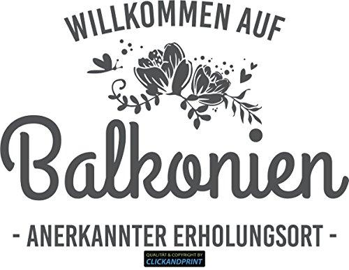 CLICKANDPRINT Aufkleber » Willkommen auf Balkonien, 30x21,2cm, Dunkelgrau • Wandtattoo / Wandaufkleber / Wandsticker / Wanddeko / Vinyl