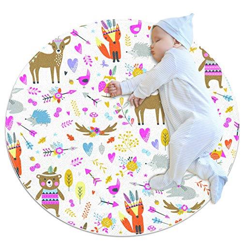 chuangxin Naadloos Patroon Met Leuke DierenBaby Tapijt voor Kwekerij Kids Ronde Warm Zachte Activiteit Mat Vloerbedekking Anti-slip voor Kinderen Peuters Slaapkamer, 27.6x27.6IN