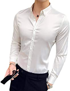 Jotebriyo Men Satin Long Sleeve Regular Fit Dress Shirt Button Up Shirt