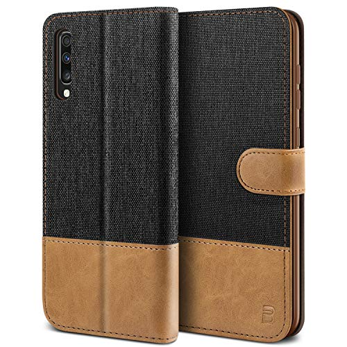 BEZ Handyhülle für Samsung Galaxy A70 Hülle, Tasche Kompatibel für Samsung Galaxy A70, Schutzhüllen aus Klappetui mit Kreditkartenhaltern, Ständer, Magnetverschluss, Schwarz