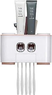 Wekity Support de brosse à dents mural multifonction avec couvercle anti-poussière, 2 distributeurs automatiques de dentif...