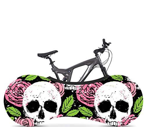 KaiXINSun Graffiti Rosa Blume Schädelkopf Fahrradabdeckung Stretchy Dirt Proof Stoff Anti Staub Wind Uv Außenlagerung, Fahrrad Aufbewahrung Tasche Innenschutzabdeckung