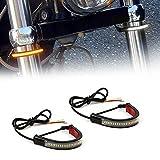 GTinthebox 2PC Flexible Switchback Dual-Color White & Amber LED Fork Turn Signal DRL Daytime Running Light Waterproof Adjustable Stips Bars kit Universal Fit Motorcycle Bike (39mm-70mm)