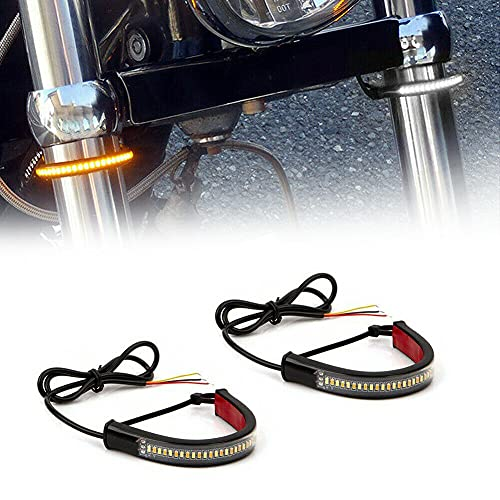GTinthebox 2PC Flexible Switchback Dual-Color White & Amber LED Fork Turn Signal DRL Daytime Running...