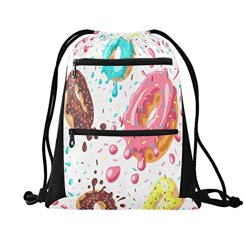DAOXIANG Drawstring Bag Waterproof Lightweight Large-capacity Fitness Swimming Travel Beach Sports Backpack Hiking Yoga Donuts Version