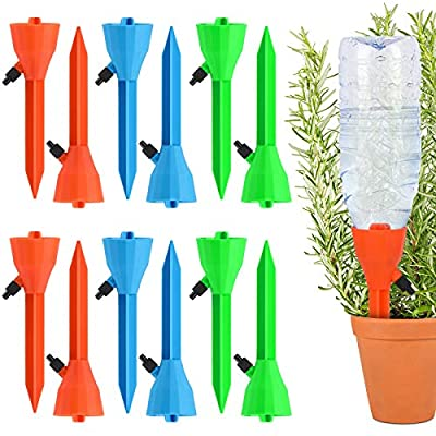 Fostoy Plant Waterer, 12 PCS Self Plant Watering Spikes System with Slow Release Control Valve Switch, Automatic Plant Waterer Device Irrigation Drippers for Outdoor Indoor Flower or Vegetables from Plant Waterer