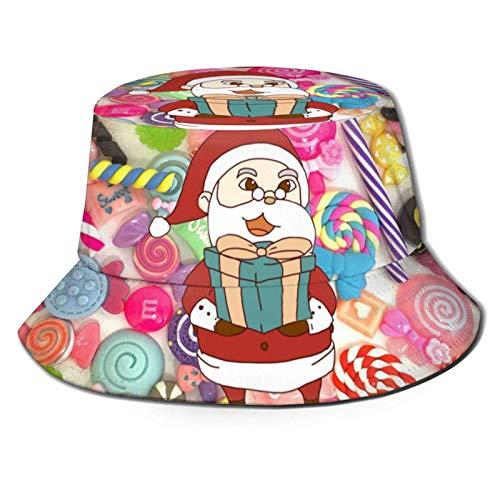 Sombrero de Sol Colorido Dulce Lollipop Christmas Bucket para Hombres y Mujeres,protección UV,Sombrero de Verano para Acampar,Flexible y Duradero para Adolescentes