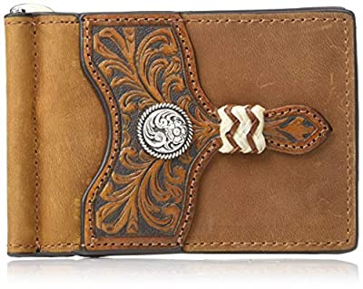 Ariat Men's Distressed Circle Concho Interior Money Clip Wallet, Brown