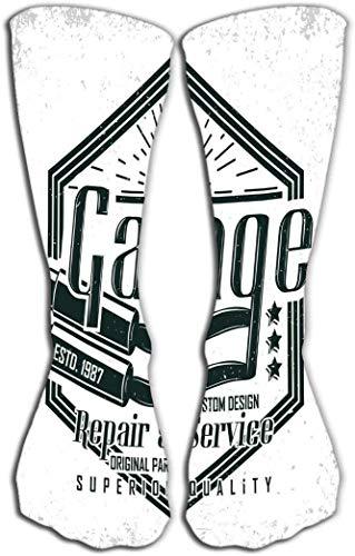 nchengcongzh Outdoor Sport Herren Damen High Socks Strumpfhose Motorrad Vintage Hot Rods Typographie Print Biker Stempel T-Shirt Grafik Vintage Motorrad Garage Emblem Fliesenlänge 50 cm Trend 6844