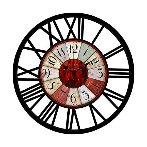 EnjoyHome Metal Clock Hollowed-Out Roman Numeral Silent Clock Large Round Decorative Clock for Living Room Bedroom Kitchen Black