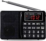 Tragbares FM AM SW Radio, Klein Mini Radio mit Lautsprecher, Kopfhörerbuchse, Akku, Memoryfunktion, USB-Stick/TF/AUX MP3-Musik-Player Taschenradio mit Große Zifferntasten und Ultralange Antenne