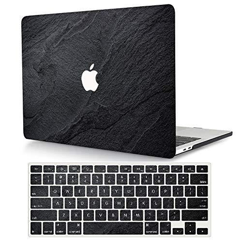 ACJYX Custodia per MacBook PRO 15 Pollici 2019 2018 2017 2016 con Touch Bar/ID Modello A1990/A1707,Plastica Case Cover Copertina Rigida e Tastiera Cover per MacBook PRO 15 - Nero