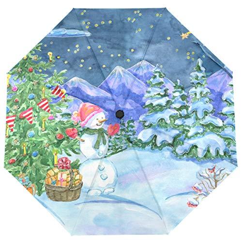 ISAOA Automatischer Reise-Regenschirm, faltbar, Weihnachtsbaum, Schneemann, leicht, kompakt, Winddicht