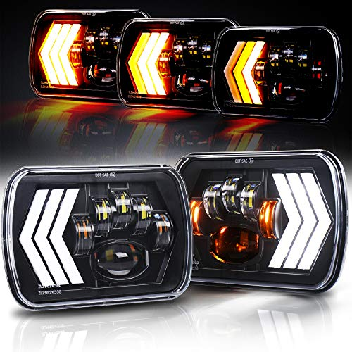 OVOTOR 7x6 LED Headlights 55W Square 5x7 inch Headlights with White&Amber Arrow DRL Dynamic Sequential Turn Signal for Wrangler YJ XJ Toyota GMC Trucks H6054 H5054 H6054LL
