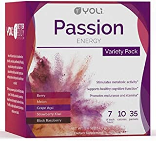 Yoli Passion Energy Drink Variety Pack - Sugar Free - Sweetwened with Stevia - Long Lasting Healthy Energy Without Jitters
