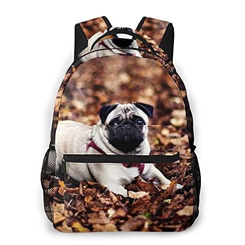 COVASA Casual Style Schulrucksack Travel Bookbag,Mops Hundeleine Laub Herbstlüge,Leichter großer Schüler-Kind-Erwachsenen-Rucksack für 15,6 'Laptop