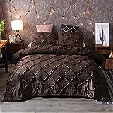 JSFN Bettbezug Plissee Tagesdecke mit geometrischem Muster, bequemes dreiteiliges Set, stilvoll & mühelos(Kaffee,220x240cm)
