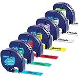 MarkField Papel Cintas de Etiquetas Compatible para Dymo Letratag Plastico Recambios para LT-100H LT-100T LT-110T XR XM 2000 Plus, 12mm x 4m, Negro sobre Blanco/Rojo/Amarillo/Azul/Verde/Transparente