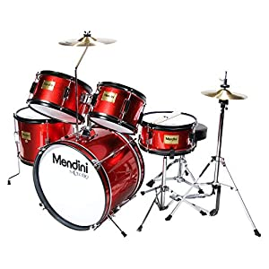 Mendini by Cecilio 16 inch 5-Piece Complete Kids/Junior Drum Set with Adjustable Throne, Cymbal, Pedal & Drumsticks, Metallic Bright Red, MJDS-5-BR