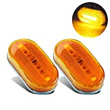 2 Pcs Amber Side Marker Lights 4 Inch 6 LED Lamp Led Trailer Lights with Reflex Lens Surface Mount, Reflective 2x4 Rectangular Rectangle Led Marker Lights Front Rear Truck RV Camper