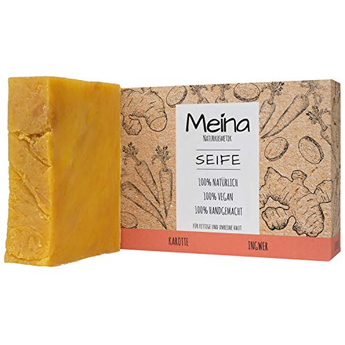 Meina Naturkosmetik - Seife mit Karotte und Ingwer (1 x 100 g) Palmölfrei, Natürlich, Vegan, Handgemacht, Bio Naturseife - Körperpflege und Gesichtspflege