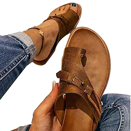 TOWELL Women's Orthopedic Correction Leather Ring Toe Casual Bunion Slippers Summer Casual Beach Sandals Flat Heel Flip Flops (Brown,8)