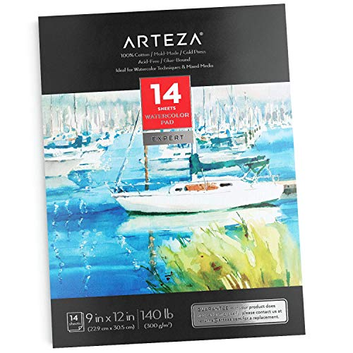 Arteza Watercolor Pad, 9 x 12 Inches, 14 Sheets, Cold-Pressed, 100% Cotton, 300 GSM Art Paper, Art Supplies for Mixed Media, Acrylic Painting, Watercolor Painting, Drawing, & Sketching