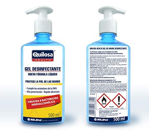 Quilosa Health Gel Desinfectante Sanitario manos 500ml Virucida, Biocida, Antiseptico y Bactericida Hidroalcoholico Higienizante con dosificador Hands Cleaning