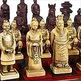 RHWZM Decoración Hogar Escultura Un Juego De Ajedrez Chino De Estatua De Guerreros De Terracota De 32 Piezas con Caja De Dragón Antiguo De Phoenix