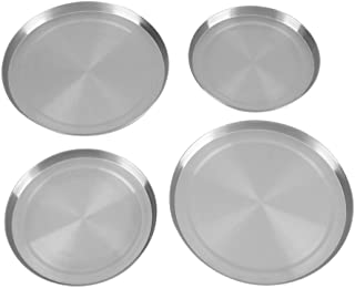 Yosoo Stove Burner Covers, Pack of 4 Stainless Steel Kitchen Stove Top Round Burner Covers Cooker Protection Pan Set Silver