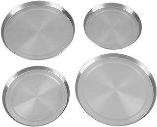Nicoone Lot de 4 cache-plaques en acier inoxydable pour cuisinière, 2 tailles (diamètre : 21/17 cm)