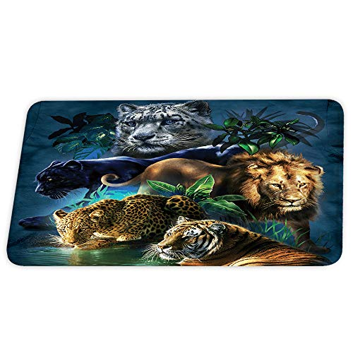 Wildlife Animals Lion and Leopard Cheetah Tiger Cool Coral Velvet Bath Rugs Non Slip Shower Mat for Bathroom Decor Sets Door Rug with Rubber Backing Absorbent Kitchen Floor Carpet 17 x 24 inches