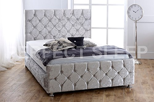 Crushed Velvet Upholstered Bed- 2ft6, 3ft, 4ft, 4ft6, 5ft - Available in 9 stylish colours! (4ft6 Double, SILVER CRUSH) by CRUSHED VELVET BED