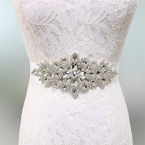 Zdada Kristall Gürtel Damen Hochzeit Gürtel Brautkleid Schärpe Kristall Strass Applique-8 Farbe Band Optionen, Weiß, RA004