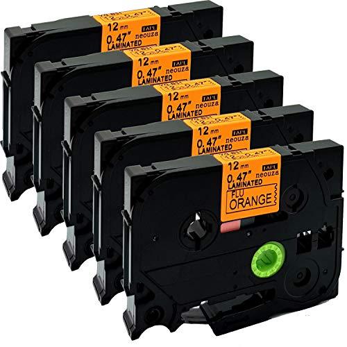 Cartucho de cintas de colores de 12 mm x 8 m, compatible con Brother P-Touch Tze y Tz, pack de 5 unidades , color TZe-B31 Black on Orange Fluorescent