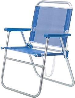 LOLAhome Silla de Playa Plegable Fija de Aluminio y Textileno (Azul)