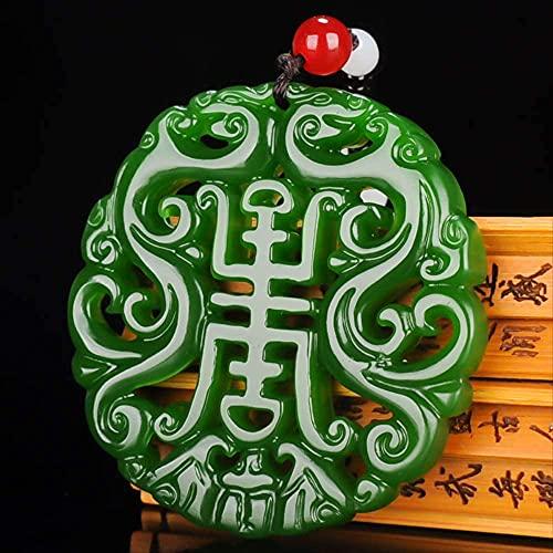 ZYLZL Collar con colgante ahuecado de dragón doble de jade verde, joyería con dijes, accesorios de moda, amuleto de suerte tallado a mano para mujer