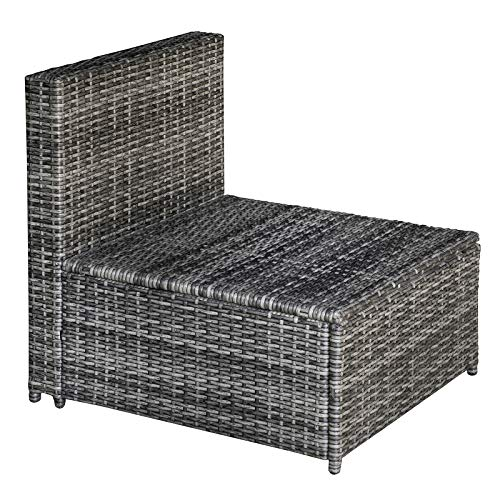 Outsunny 7-TLG. Polyrattan Gartengarnitur Gartenmöbel Garten-Set Sitzgruppe Loungeset Loungemöbel inkl. Fußhocker Sitzkissen Grau Stahl + Polyester 58 x 58 x 37 cm - 7