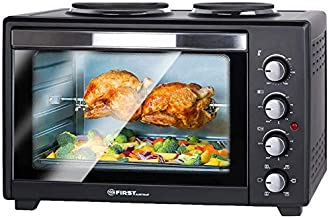 TZS First Austria - 60 Liter 3400W Mini-Backofen mit Kochplatten und Krümelblech | Innenbeleuchtung | Drehspieß | Umluft | Mini-Pizza-Ofen | Kochplatten separat bedienbar | Doppelglastür | Mini-Küche