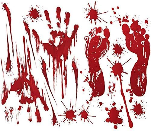 Arfun 80PCS Halloween Decorations Bloody Footprints Handprints Floor Clings Window Decals Stickers product image