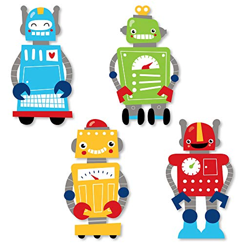 Big Dot of Happiness Gear Up Robots - DIY Shaped Birthday Party or Baby Shower Cut-Outs - 24 Count