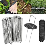 Landscape Staples, Garden Stakes for Landscaping Fabric, 2.5mm Thick,15cm/4cm Heavy-Duty Garden Securing Stakes, for Anchoring Landscape Fabric, Netting,Ground Sheets (50 Garden Pegs/50Buffer Washer)